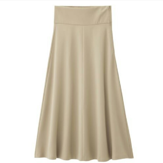 GU(ジーユー)の新品 GU ハイウエストフレアマキシスカート☆チノ ベージュ UNIQLO レディースのスカート(ロングスカート)の商品写真