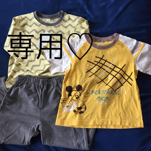 Disney(ディズニー)の新品 未使用 長袖パジャマ 半袖 ミッキーTシャツ キッズ/ベビー/マタニティのキッズ服 男の子用(90cm~)(パジャマ)の商品写真