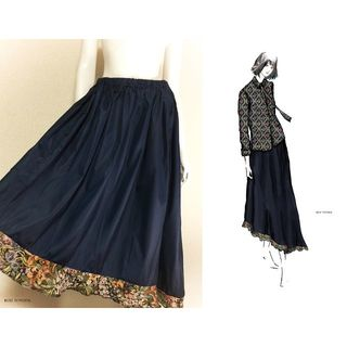 【1点もの・デザイン画付き】ゴブラン織りフリル付きアシメトリーロングスカート(ロングスカート)