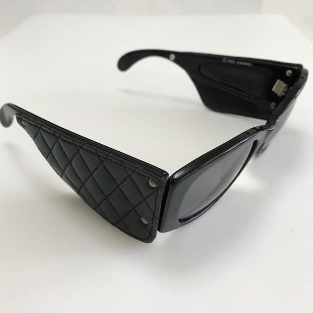 9d9de885052b CHANEL(シャネル)のCHANEL シャネル サングラス レザー マトラッセ 黒 ブラック レディースのファッション小物