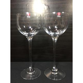 イッタラ(iittala)の廃盤・希少 iittala オーロラ レッドワイン ペア 未使用 ヴィンテージ(グラス/カップ)