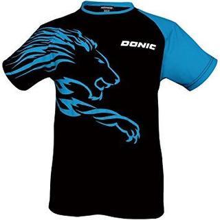 ドニック(DONIC)の【希少品】DONIC/ドニック★シャツ ライオン★ブラック×ターコイズ★Lサイズ(卓球)
