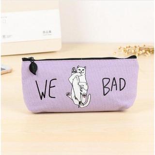 猫 ネコ 猫ペンケース 猫筆箱 WE BAD!パープル☆新品未使用品 送料無料(ペンケース/筆箱)