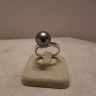 パール(pearl)のPTクロチョウ養殖真珠指輪(鑑別書付き)(リング(指輪))