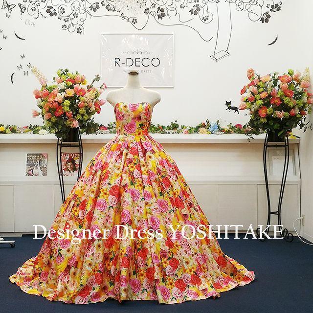 ウエディングドレス オレンジ花柄 披露宴/二次会 レディースのフォーマル/ドレス(ウェディングドレス)の商品写真