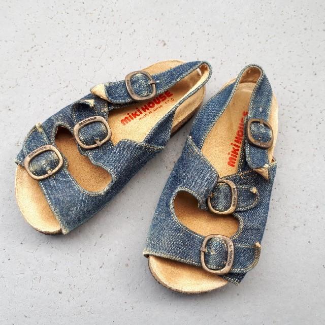 mikihouse(ミキハウス)のミキハウス サンダル デニム 17cm おしゃれ    キッズ/ベビー/マタニティのキッズ靴/シューズ (15cm~)(サンダル)の商品写真