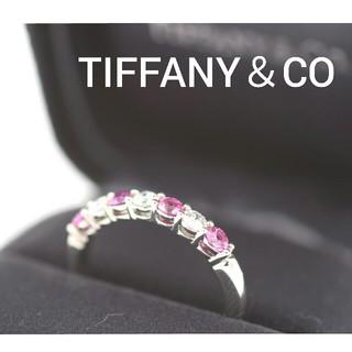 ティファニー(Tiffany & Co.)のティファニー エンブレイス バンドリング Pt950 ダイヤ サファイヤ 新仕上(リング(指輪))