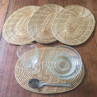 ムジルシリョウヒン(MUJI (無印良品))のランチョンマット*籐 コースター 4枚セット(テーブル用品)