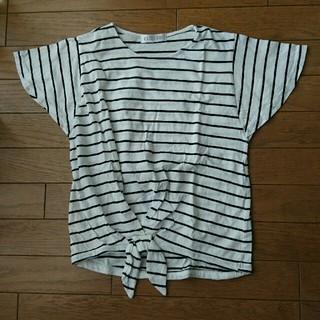 シマムラ(しまむら)のしまむら☆裾リボン付きボーダートップス 150(カットソー(半袖/袖なし))