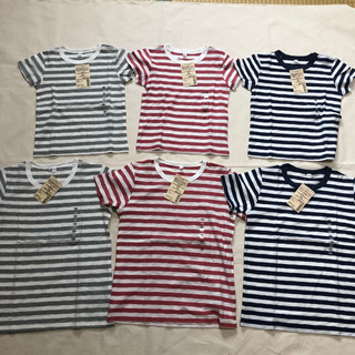 ムジルシリョウヒン(MUJI (無印良品))の無印良品 スラブボーダー 半袖Tシャツ 2枚 ペア(Tシャツ/カットソー)