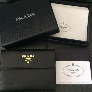 プラダ(PRADA)の新品未使用 プラダ ミニ財布 ウォレット ブラック 黒 サフィアーノカードケース(財布)