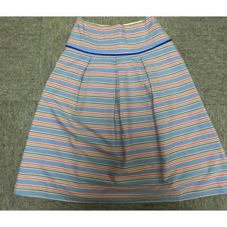 プーラフリーム(pour la frime)の美品 ストライプ プリーツスカート(ひざ丈スカート)