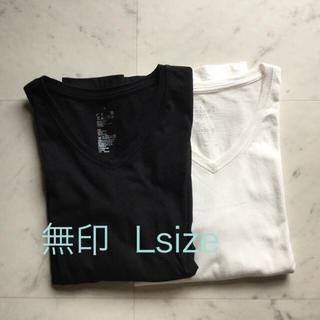 ムジルシリョウヒン(MUJI (無印良品))のこはる様専用   無印 コットンTシャツ Vネック   長袖 Lサイズ  2枚(Tシャツ(長袖/七分))