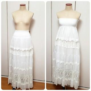 リズリサ(LIZ LISA)の2way 白 レース 花柄 刺繍 マキシ丈スカート(ロングスカート)