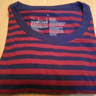 ムジルシリョウヒン(MUJI (無印良品))の無印良品 オーガニックコットン 半袖 ボーダーTシャツ 紺×赤 L(Tシャツ/カットソー(半袖/袖なし))