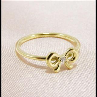 アーカー(AHKAH)のAHKAH アーカー♡ラブリボンピンキーリング k18 3号 Y G(リング(指輪))
