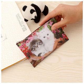 猫お財布コインケース 猫ミニポーチ 猫小物入れ 猫カード入れ 新品未使用品♪(コインケース)