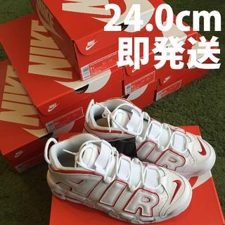 ナイキ(NIKE)の【24.0cm】NIKE AIR MORE UPTEMPO GS ホワイト②(スニーカー)