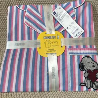 ジーユー(GU)のGU半袖パジャマショートパンツコットンスヌーピー柄ストライプ(パジャマ)