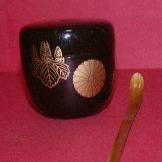 送料込★竹茶杓付なつめ【メラミン漆塗り、口径6cm、茶道具、中古良品】T23(茶)