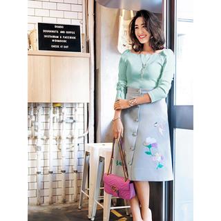 チェスティ(Chesty)のchesty チェスティ Flower Motif Skirt グレー(ひざ丈スカート)