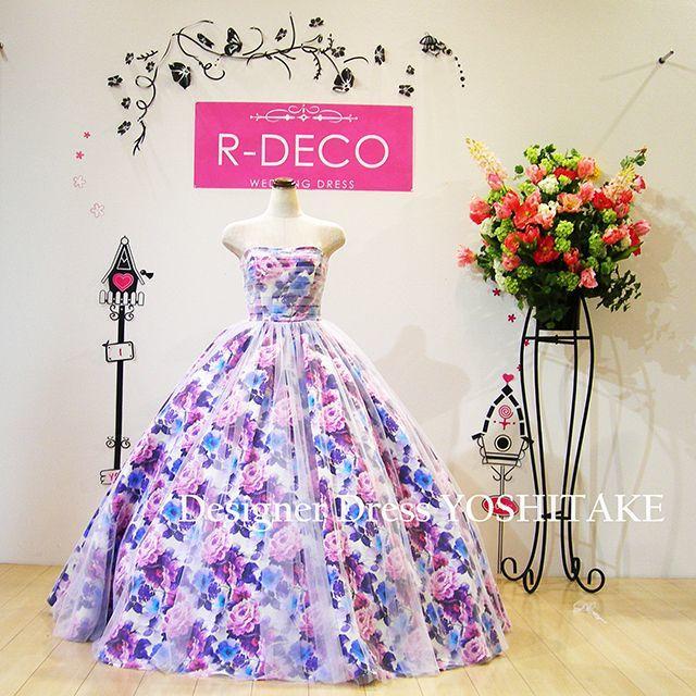 ウエディングドレス パープル花柄&白チュール 披露宴/二次会用 レディースのフォーマル/ドレス(ウェディングドレス)の商品写真
