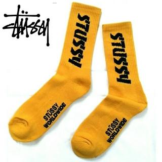 ステューシー(STUSSY)の新品!ステューシー stussy スクリプトロゴ 靴下 黄(ソックス)