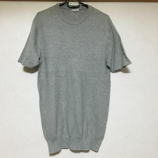 ジーユー(GU)の半袖ニット  グレー  メンズ(ニット/セーター)