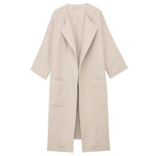 ムジルシリョウヒン(MUJI (無印良品))の新品 無印良品  フレンチリネンノーカラーコート  (ロングコート)