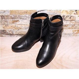 コーチ(COACH)の美品 コーチ(COACH) アンクルブーツ シグネチャーロゴ 黒 24cm 7B(ブーツ)