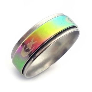 ☆新品☆22号ステンレスリング 指輪 レインボー スター&ムーン(リング(指輪))
