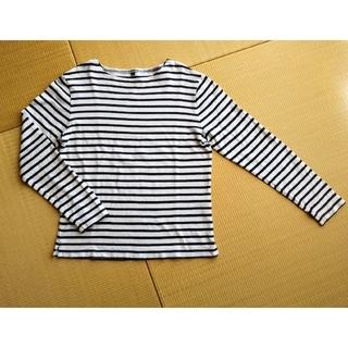 ムジルシリョウヒン(MUJI (無印良品))の無印良品 白×紺ボーダー長袖ボートネックカットソー(メンズMサイズ)(Tシャツ/カットソー(七分/長袖))