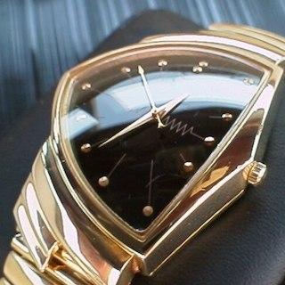 ハミルトン(Hamilton)のハミルトン ベンチュラ 希少な復刻6110 メンズ 黒文字盤18K仕上げ 腕時計(その他)