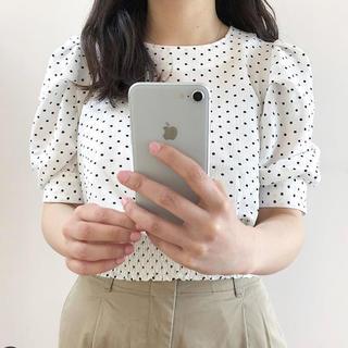 ジーユー(GU)の新品 ジーユー gu ドットプリントブラウス ドット ブラウス 水玉(シャツ/ブラウス(半袖/袖なし))