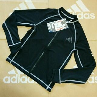 アディダス(adidas)の新品 160cm アディダス ラッシュガード キッズ ジュニア 黒 ①あ1(水着)