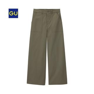 ジーユー(GU)のGU ベイカー ワイド パンツ S カーキ ジーユー(ワークパンツ/カーゴパンツ)