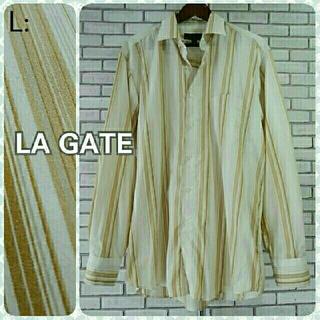 エルエーゲート(LA GATE)のL: ボタンシャツ/LA GATE★美品★ストライプ(シャツ)