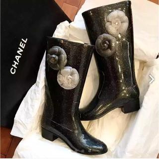 シャネル(CHANEL)の美品 箱付き CHANEL レインブーツ 37(レインブーツ/長靴)