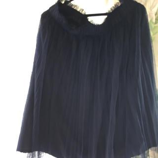 ベルーナ(Belluna)のネイビー柔らかチュールスカート(ひざ丈スカート)