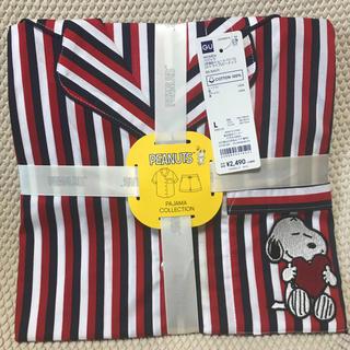 ジーユー(GU)のGUコットンパジャマ半袖ショートパンツスヌーピーストライプ柄(パジャマ)