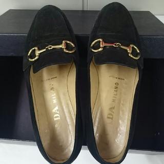 プラダ(PRADA)のプラダ モカシン 黒 スエード(ローファー/革靴)