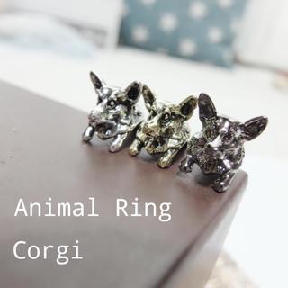 犬 アニマルリング コーギー 指輪 レディース メンズ 動物 フィギュア(リング(指輪))