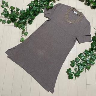 ブルネロクチネリ(BRUNELLO CUCINELLI)の本物 ブルネロクチネリ カシミヤ100% ハーフワンピース 半袖 ニット 茶系(カットソー(半袖/袖なし))