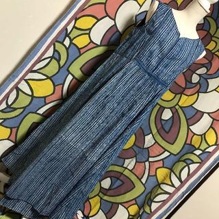 マライカ(MALAIKA)の【新品タグあり】マライカ 天然色素で染めたブロックプリントのノースリワンピ 藍色(ロングワンピース/マキシワンピース)