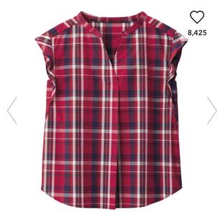 ジーユー(GU)のGU/ジーユー  マドラスチェックブラウス レッド 赤 S(シャツ/ブラウス(半袖/袖なし))
