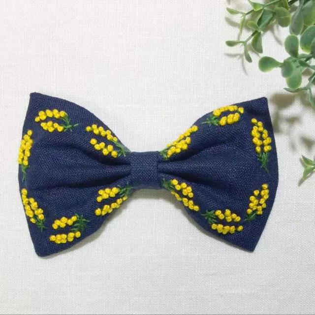刺繍 リボンのヘアゴム  ミモザ No7 ハンドメイドのアクセサリー(ヘアアクセサリー)の商品写真