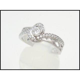 K18 WG ダイヤ デザインリング 0.23ct/0.17ct ♯14(リング(指輪))