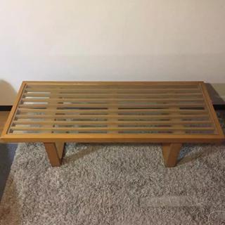アクタス(ACTUS)のmaruni60 マルニ木工オールドマルニ ウッドフレームガラステーブル 北欧(ローテーブル)