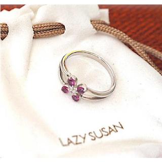 レイジースーザン(LAZY SUSAN)の* レイジースーザンのフラワーモチーフダイヤ×ロードライトガーネットリング(リング(指輪))