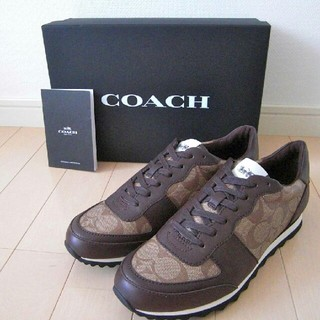 コーチ(COACH)の正規保証 コーチ シグネチャー レザースニーカー 新品、箱付き 23cm(スニーカー)